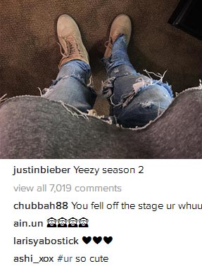 You fell off stage or what? Fan asks Justin Bieber as he rocks Yeezy outfit