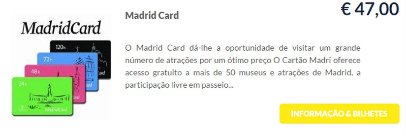 Madri - compre ingressos on-line para as atrações - Madrid Card - Ticketbar