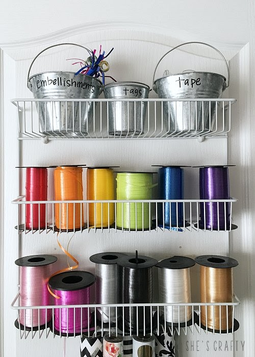 Gift Wrap Organizer - how to store ribbon rolls in unused space behind the door