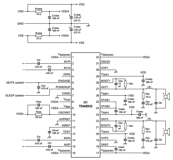 TDA8932 Audio Amplifier 2x15 W | Wiring And Schematic