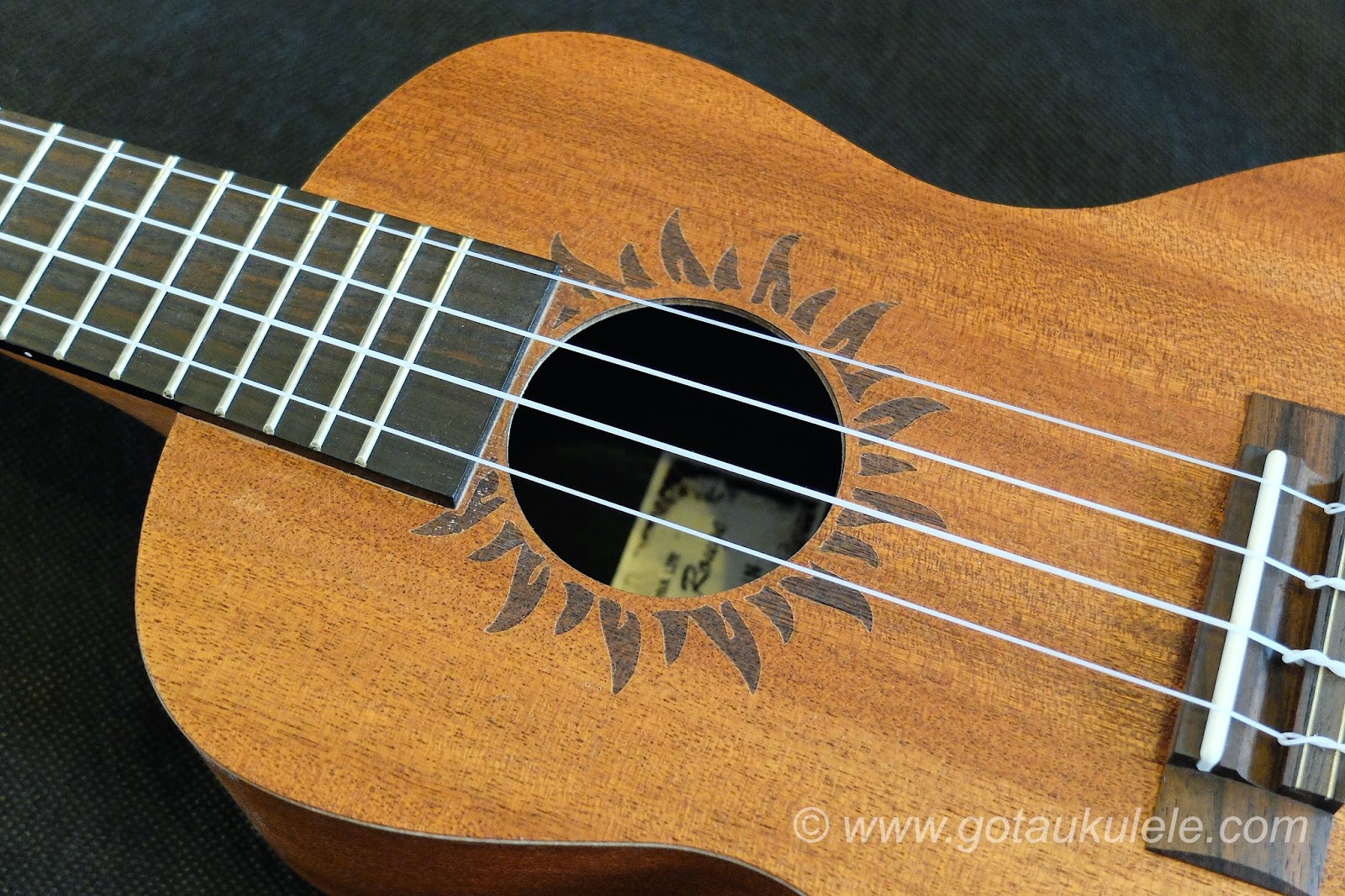 Baton Rouge V2C Sun ukulele sound hole etching