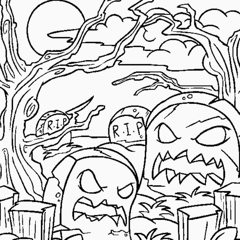 halloween graveyard coloring pages - photo#9