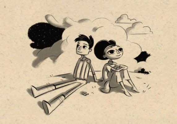 Dibujo en blanco y negro de Shay y Vella, sentados en el suelo mientras contemplan el firmamento