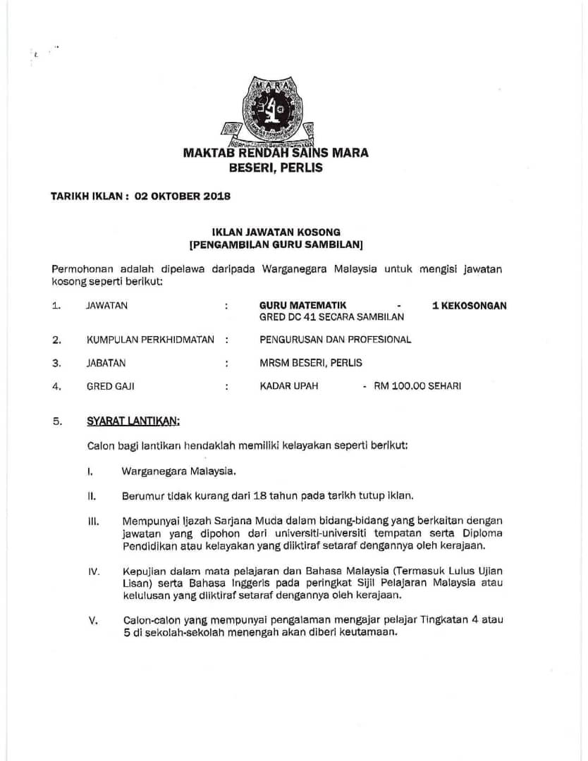 Contoh Surat Rayuan Mrsm
