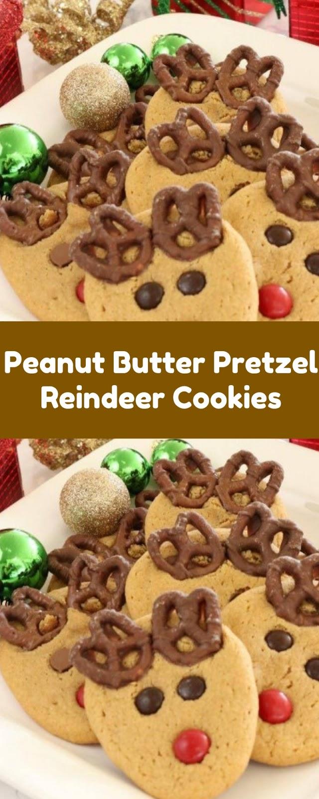Peanut Butter Pretzel Reindeer Cookies Christmas Cookies