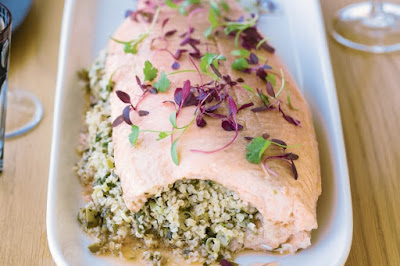 Barbecued whole salmon with cracked wheat stuffing and coriander cream meal ideas