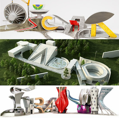 Architects Buildings As 3D Typography