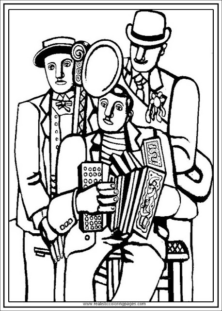 three musicians fernand Leger adults printable coloring pages