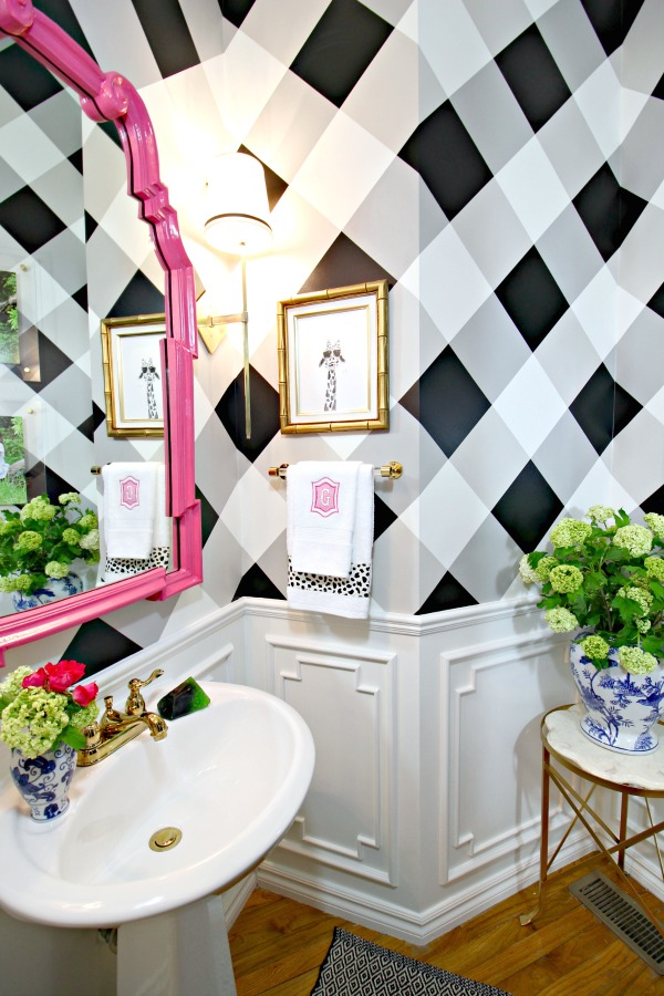 powder bath makeover, before and after, one room challenge, DIY artwork, buffalo check wall, black and white gingham, brass sconces, hot pink la barge mirror, pedestal sink, white moulding, lucite towel bar