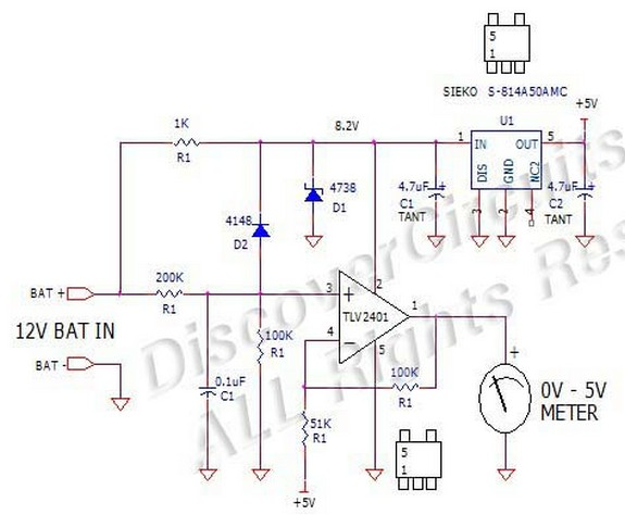 circuit diagram expanded scale 12v battery voltage monitor