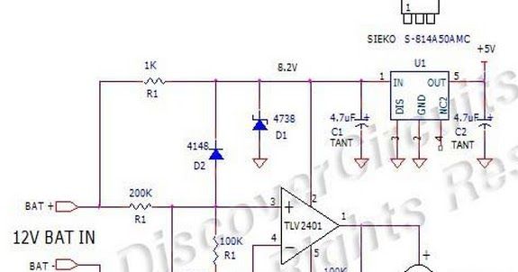 circuit diagram expanded scale 12v battery voltage monitor using tlv2401