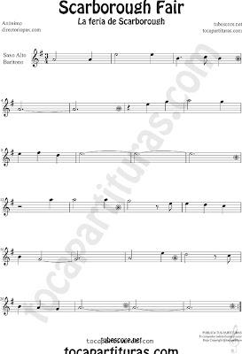 Partitura la feria de scarborough de Saxofón Alto y Sax. Baritono Sheet Music for Alto and Baritono Saxophone Music Scores Scarborouh Fair