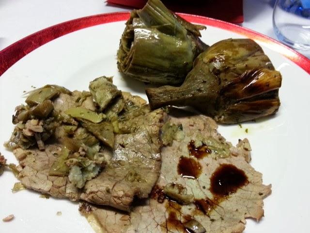 Roast beef con carciofi e balsamico