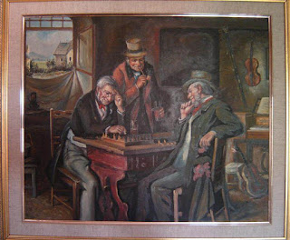 Pintura curiosa con persoinajes jugando al ajedrez