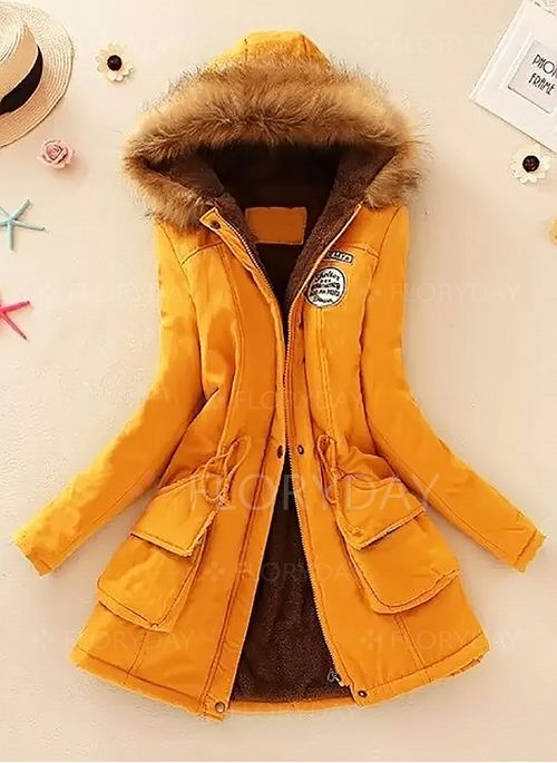 Long Sleeve Hooded Sashes Zipper Pockets Removable Fur Collar Coats