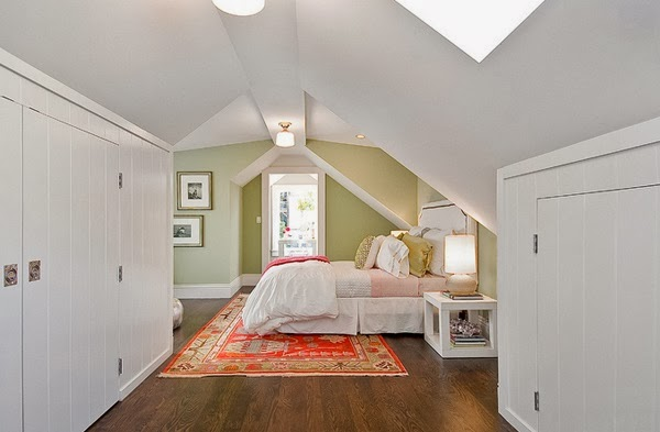attic closet design ideas - sloped ceiling bedroom ideas