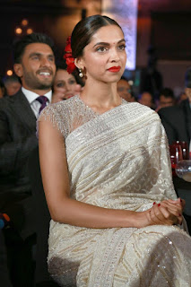 Deepika Padukone with her hsuband in Glittering White Saree