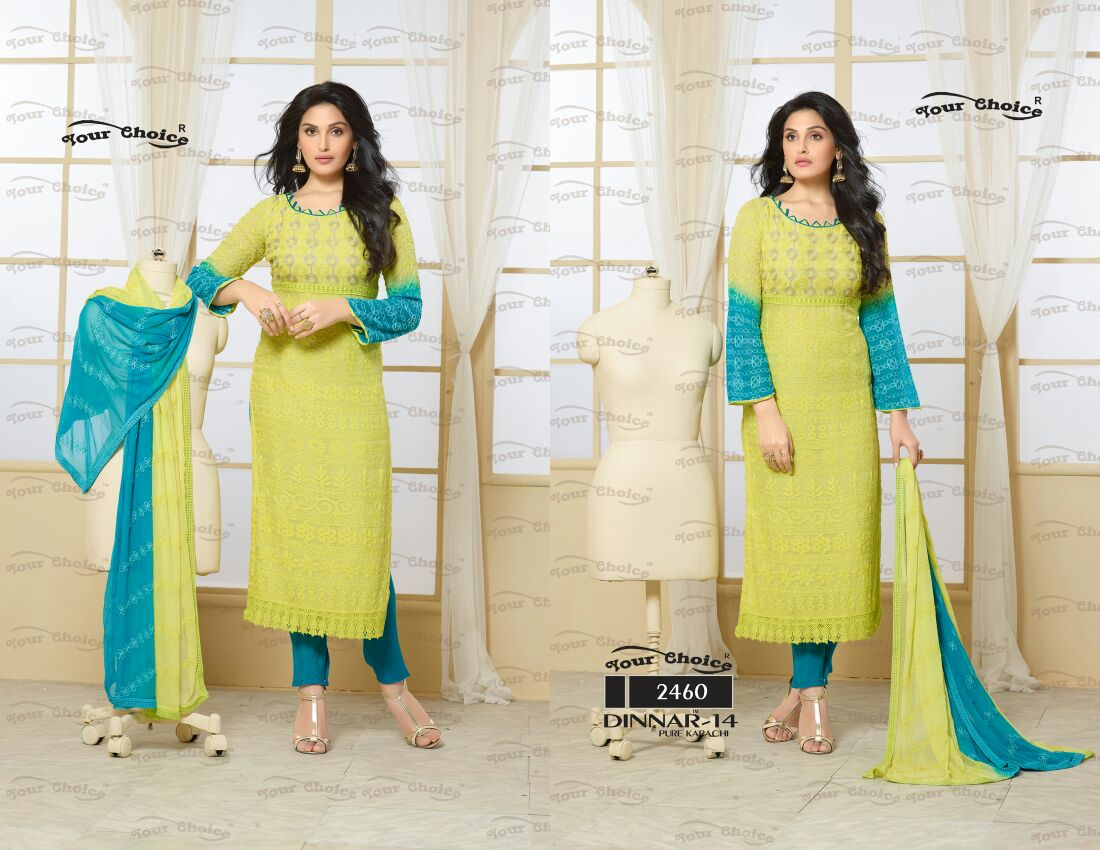 Dinnar 14 – Purchase Chiffon Dress Material Catalog Online