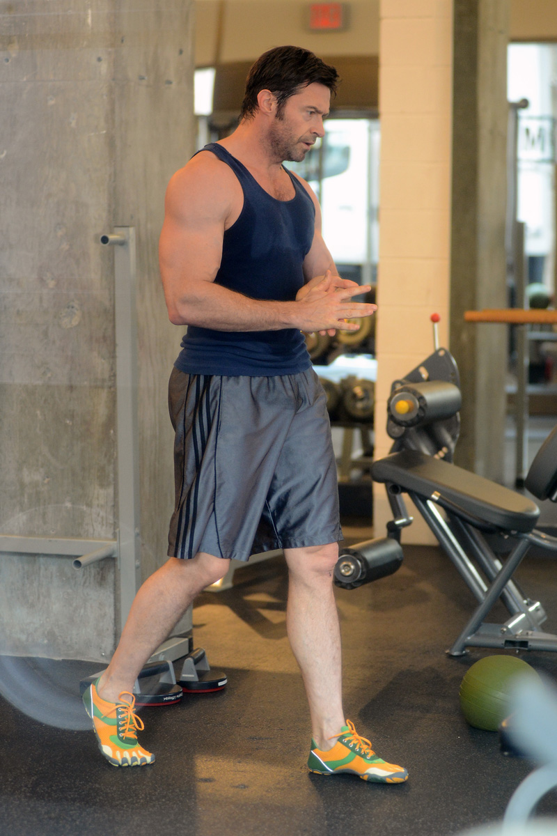 Hugh Jackman Show Off His Guns At The Gym | Oh yes I am