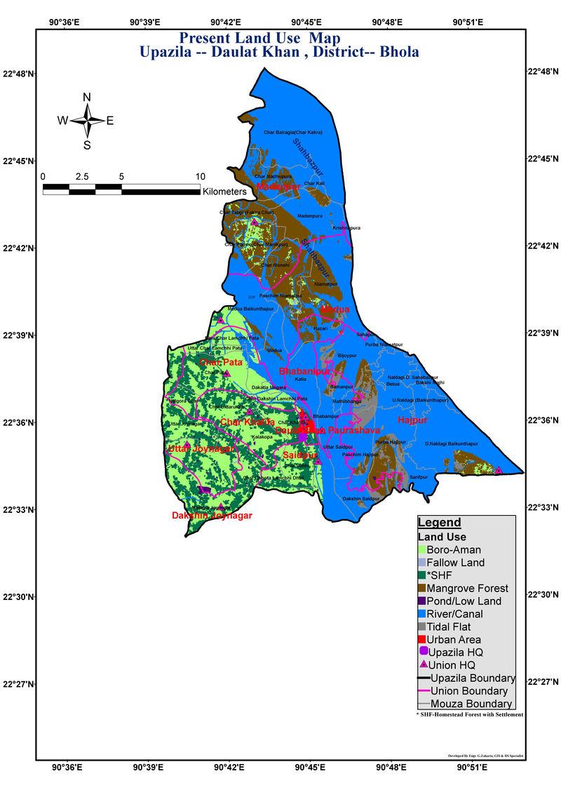 Daulatkhan Upazila Land Use Mouza Map Bhola District Bangladesh