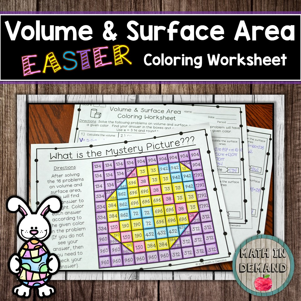 Volume And Surface Area Coloring Worksheet Math In Demand