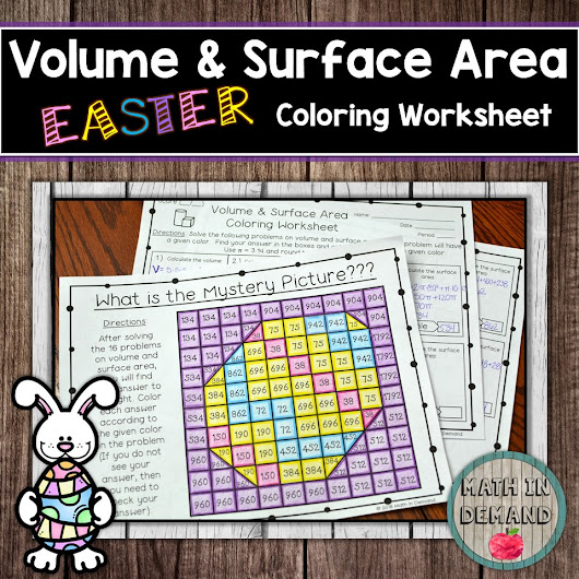 Volume and Surface Area Coloring Worksheet (Cone, Cube, Cylinder ...