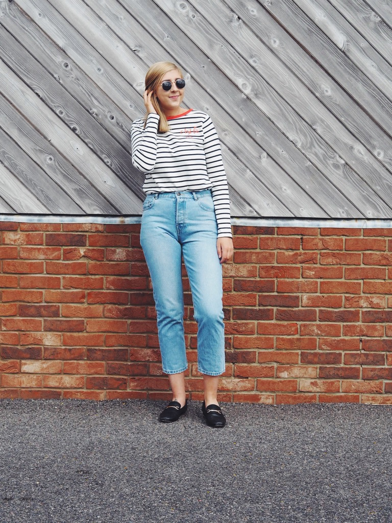 fbloggers, fashionbloggers, ootd, outfitoftheday, wiw, whatimwearing, lotd, lookoftheday, asseenonme, primarkraybansunglasses, cestlavietop, cestlaviesugarhillboutiquetop, bretonstripedtop, asosflorencejeans, asosloafers