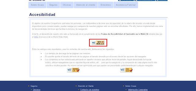Pagina referente a la accesibilidad en la web de Ocaso
