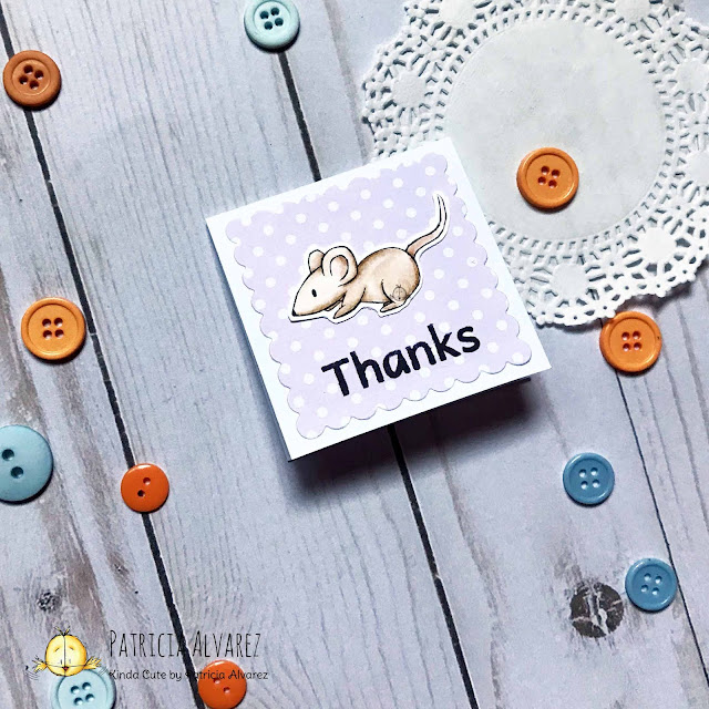 thank you mini card with a mouse
