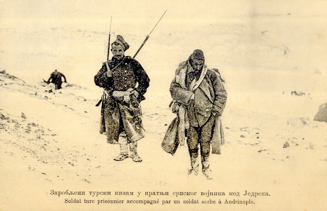 "Captured Turkish Soldier ""Nizam"" accompanied by Serbian soldier at Edirne during the First Balkan War (Nizam (Turkish word meaning - order, rule) is a soldier member of the First Regular Army established in 1826 in the Ottoman Empire)"
