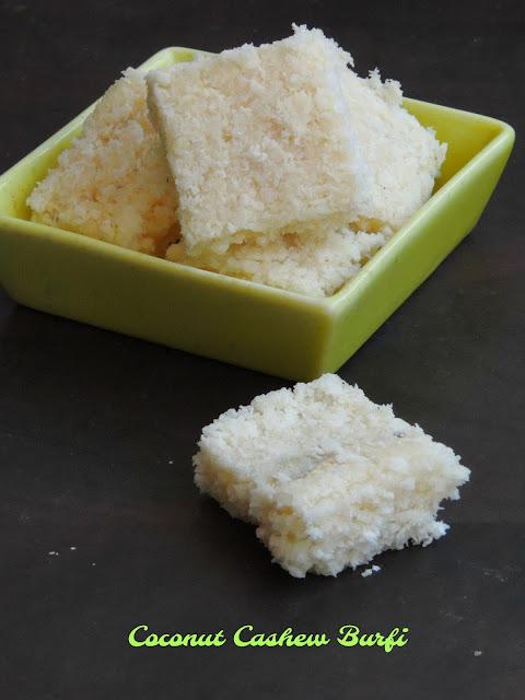 Coconut Cashew burfi, Vegan Burfi