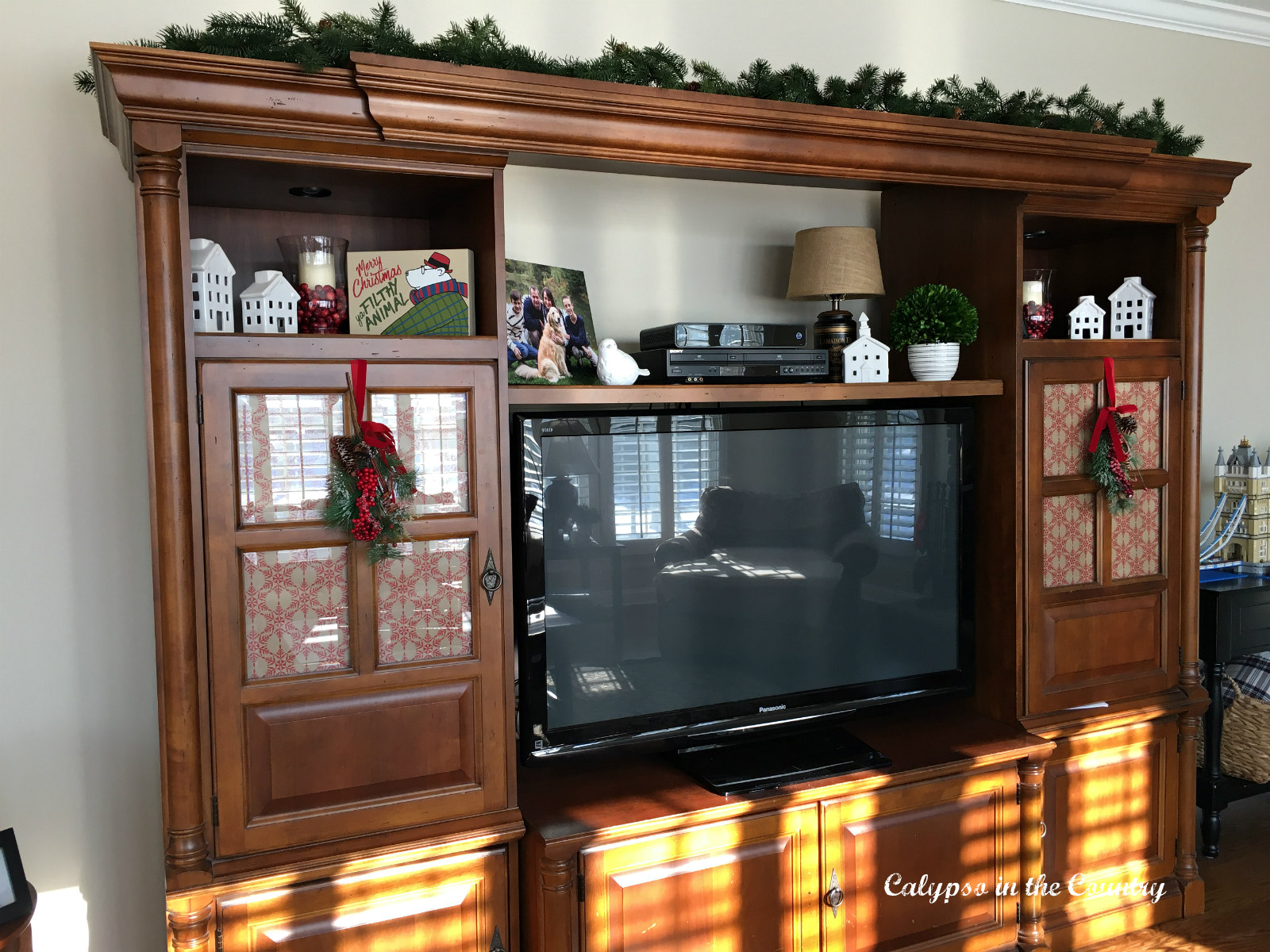 TV Cabinet with Wrapping paper on glass doors