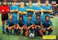 CLUB GETAFE DEPORTIVO - Getafe, Madrid, España - Temporada 1976-77 - Cervantes, Cruz, Amunárriz, Salmerón, Alfonso y Escalante; Javi, Chiqui, Salazar, Zambrano y Munguía - 13º clasificado en la Liga de 2ª División, con José Antonio Segura de entrenador. El GETAFE DEPORTIVO, antecedente del actual GETAFE C. F., tras un breve periplo por la 2ª División española, desapareció por deudas en julio de 1983