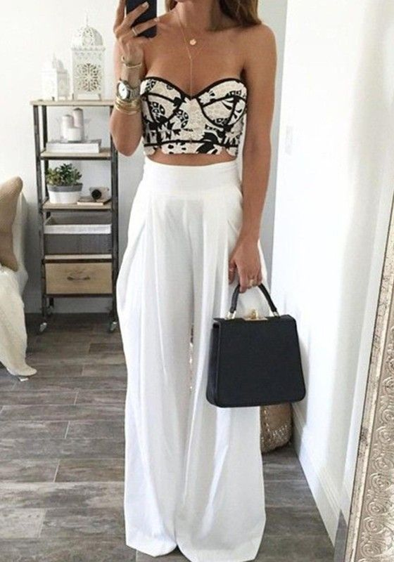 Plain White Pleated Palazoo Waist High Leg Loose Fitting Pant