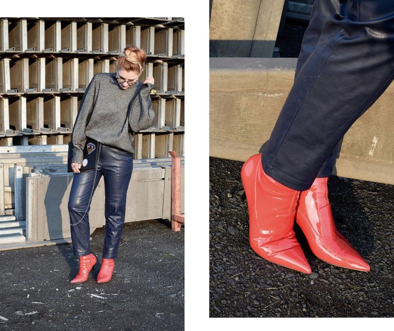 dunkelblaue Kunstlederhose, rote Lacklederschuhe, schwarzer Glitzerpulli, ü40 Modeblog,