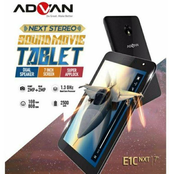 E1C NXT Adalah Tablet Advan Dengan Speaker Yang Mumpuni Dual Speakernya Memberikan Output Lebih Jernih Dan Banter Untuk Menikmati Semua Fitur Didalam