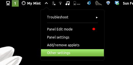 panel settings in linux mint