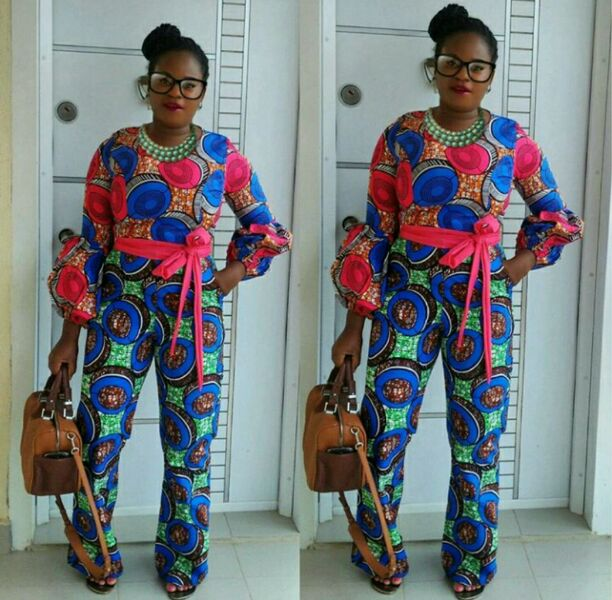 Ankara jumpsuit with a brown bag