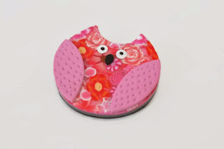 Pink Millefiori Owl Brooch made from polymer clay handmade by Lottie Of London