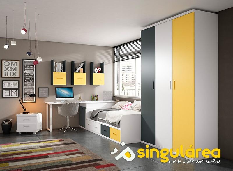 Dormitorio juvenil nido con armario 1607 - Habitaciones juveniles en valencia ...