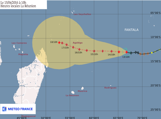 Trajectoire et intensité prévues pour le cyclone tropical Fantala