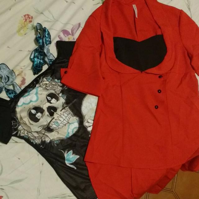 blusas, Recebidos Loja Dresslily, blusa de caveira, blusa vermelha