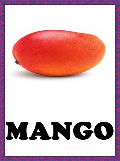 Kindergarten Worksheets Fruits Flashcards Mango