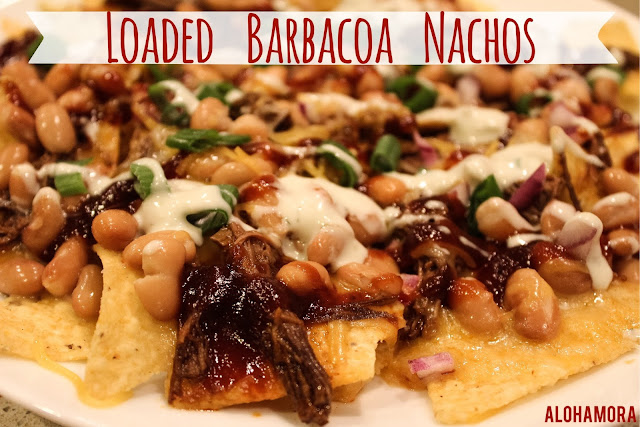 Easy, simple, and oh so fast Loaded Barbacoa Nachos.  These nachos are quick enough to be an outside party appetizer, fun enough to be a Friday night meal, and hearty enough to be an entire meal.  Use Del Real Barbacoa meat and you have the easiest and most delicious nachos ever.  BBQ sauce, beans, brisket like meat, and more deliciousness. Contest, kid friendly, party, fun food Alohamora Open a Book http://www.alohamoraopenabook.blogspot.com/