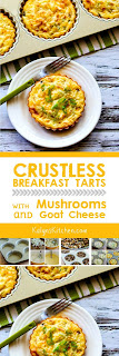 Crustless Breakfast Tarts with Mushrooms and Goat Cheese found on KalynsKitchen.com
