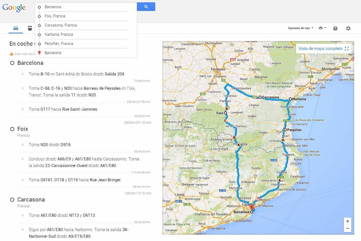 Planifica tus rutas con Google Maps