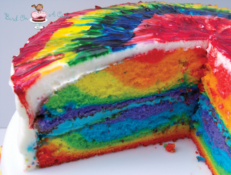 Awe Inspiring Bird On A Cake Rainbow Tie Dye Cake Personalised Birthday Cards Paralily Jamesorg