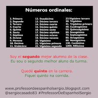 Os números ordinais em espanhol, números cardinais em espanhol, números em espanhol, aprender espanhol, dicas de espanhol, curso de espanhol, espanhol