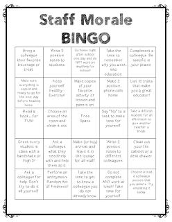Staff Morale Bingo