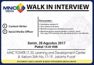 Lowongan Kerja MNC Media (Walk In Interview)